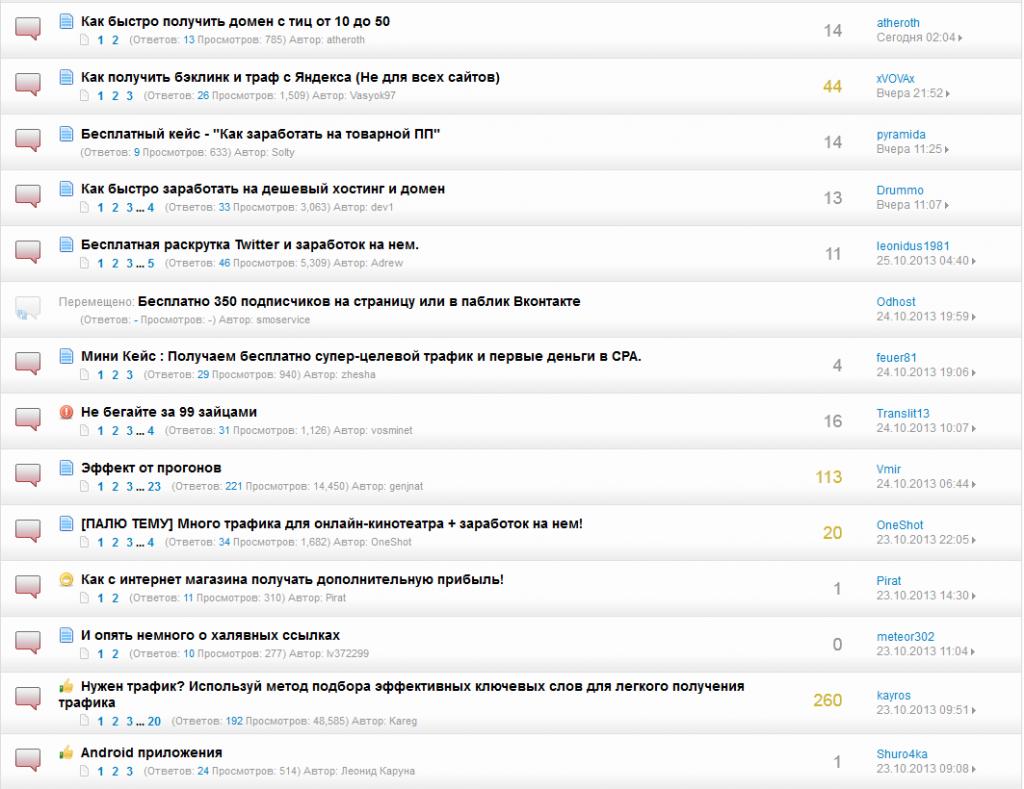 Новые темы на форуме